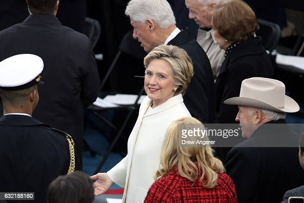 Former Democratic presidential nominee Hillary Clinton former President Bill Clinton former President Jimmy Carter and Rosalynn Carter former Vice...