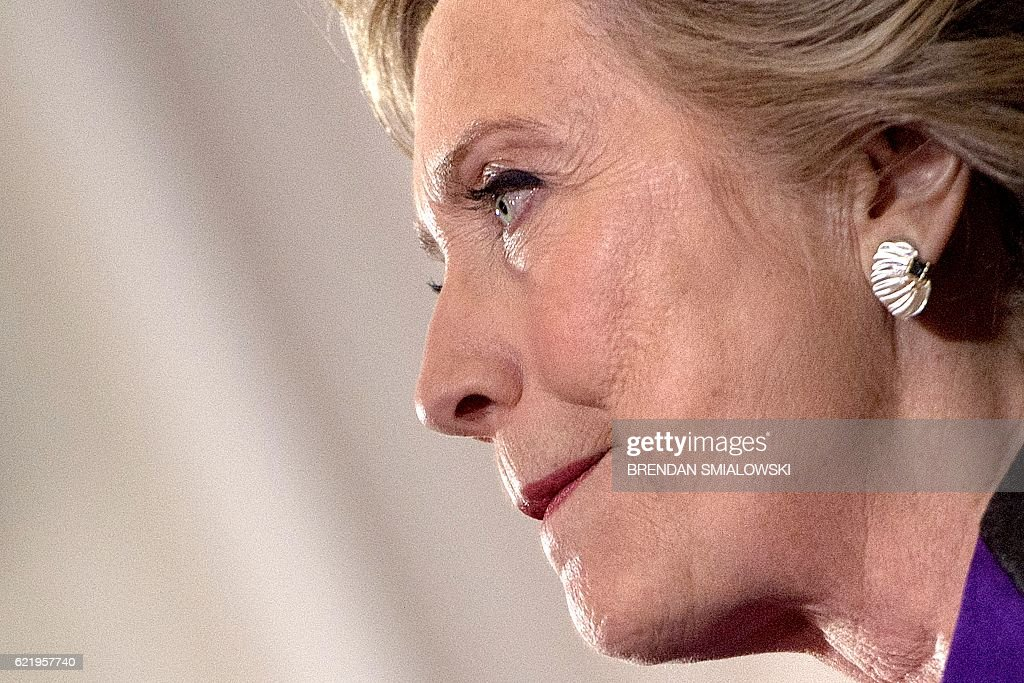 Former Democratic US Presidential candidate Hillary Clinton speaks to staff and supporters at the New Yorker hotel after her defeat in the presidential election November 9, 2016 in New York. / AFP / Brendan Smialowski