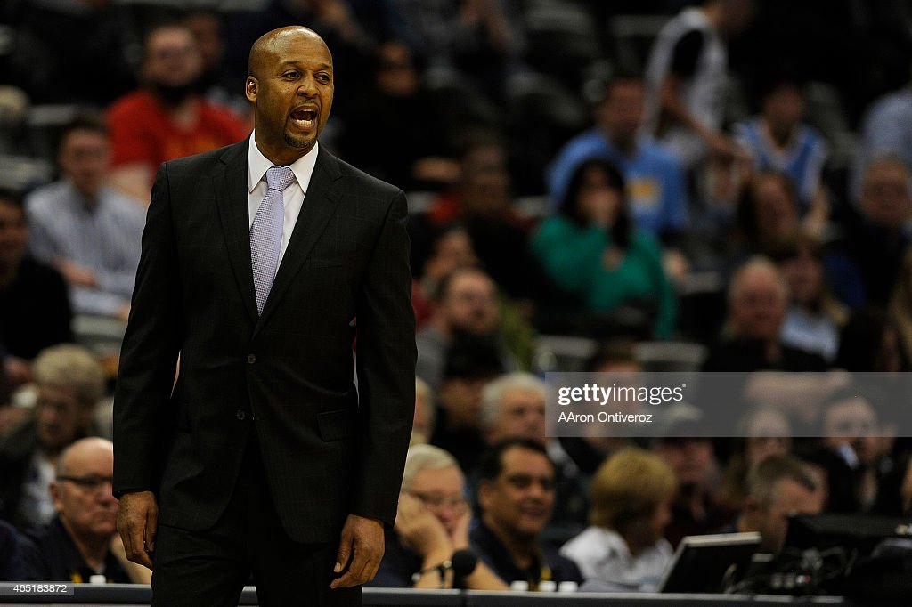 Former Denver Nuggets head coach <a gi-track='captionPersonalityLinkClicked' href=/galleries/search?phrase=Brian+Shaw+-+Basketball+Coach&family=editorial&specificpeople=11376247 ng-click='$event.stopPropagation()'>Brian Shaw</a> works his final game at the helm during the second half of a 99-92 loss to the New Orleans Pelicans. The Denver Nuggets hosted the against the New Orleans Pelicans at the Pepsi Center on Sunday, March 2, 2015.