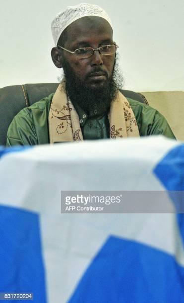 Former Deputy Leader and spokesman of Somalia's AlQaedaaffiliated Shebab rebels Sheikh Mukhtar Robow also known as Abu Mansur speaks to journalists...
