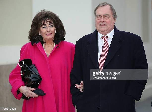 Former deputy prime minister Lord Prescott and his wife Pauline leave Bridlington Spa as counting continues in the Humberside Police and Crime...