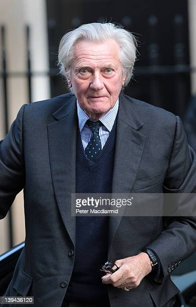 Former Deputy Prime Minister Michael Heseltine arrives in 10 Downing Street on February 21 2012 in London England Later today the Prime Minister will...