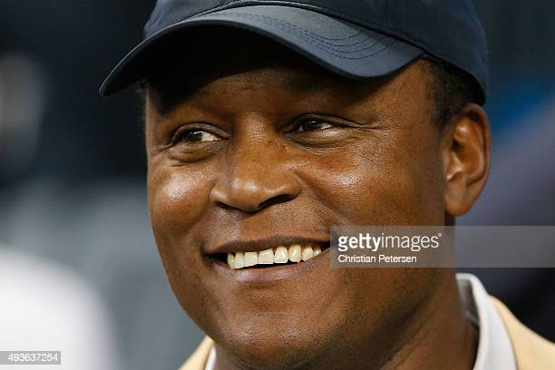 Former Detroit Lions Barry Sanders during the Pro Football Hall of Fame half time show at the NFL game against the Chicago Bears at Ford Field on...