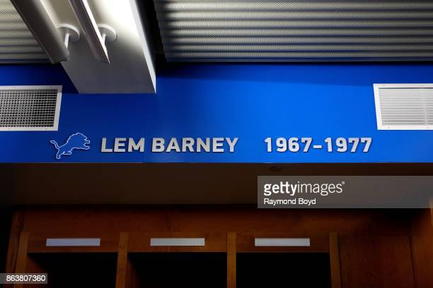 Former Detroit Lions player Lem Barney is recognized in the team's locker room at Ford Field home of the Detroit Lions football team in Detroit...