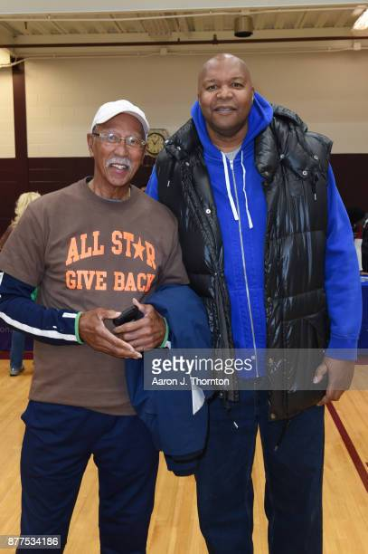 Former Detroit Mayor Dave Bing and Former NBA player Derrick Coleman attend the 2017 Annual AllStar Giveback Thanksgiving Edition on November 21 2017...