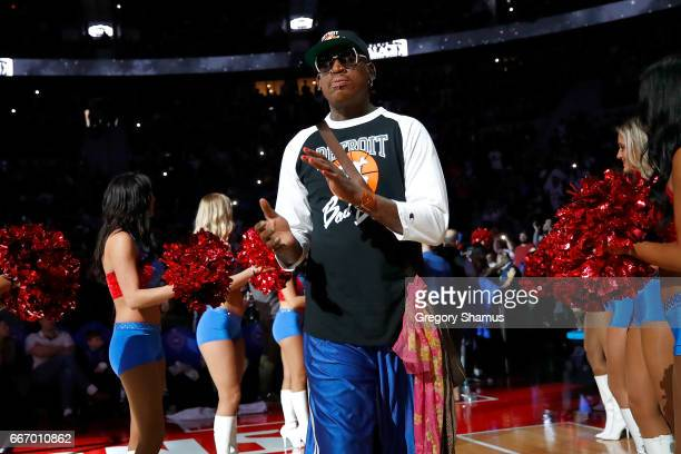 Former Detroit Piston Dennis Rodman take the floor for a halftime ceremony at the final NBA game at the Palace of Auburn Hills between the Detroit...