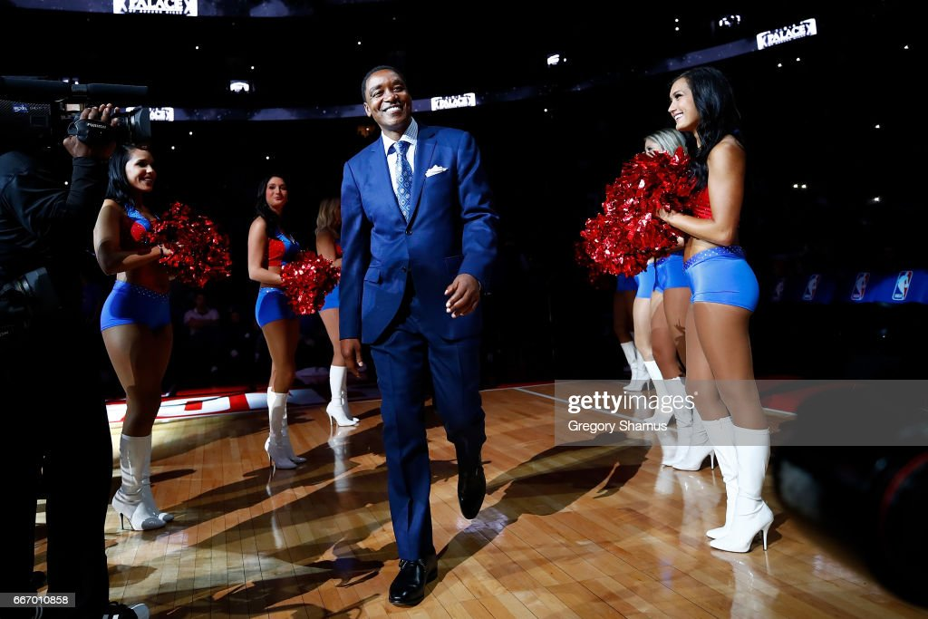 Former Detroit Piston Isiah Thomas take the floor for a halftime ceremony at the final NBA game at the Palace of Auburn Hills between the Detroit Pistons and Washington Wizards on April 10, 2017 in Auburn Hills, Michigan.