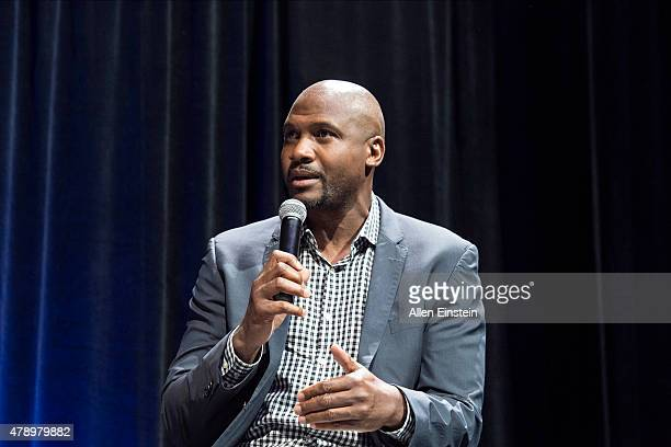 Former Detroit Piston Lindsey Hunter speaks at Detroit Piston Draft Night presented by Coors Light on June 25 2015 at the Palace of Auburn Hills in...
