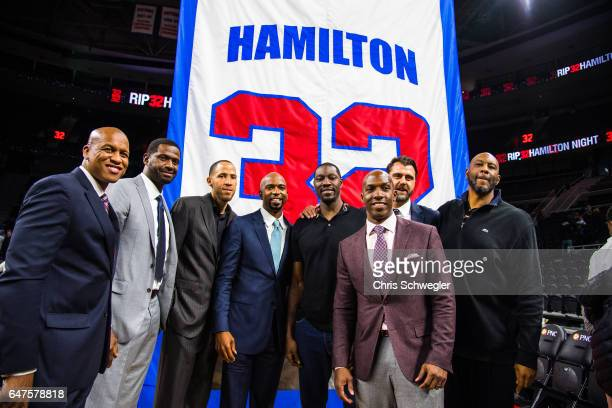 Former Detroit Piston Richard Hamilton poses for a photo in front of his retired number after the game against the Boston Celtics on February 26 2017...