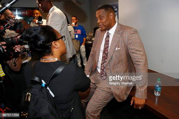 Former Detroit Piston Rick Mahorn is interviewed after a halftime ceremony at the final NBA game at the Palace of Auburn Hills between the Detroit...