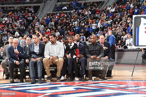 Former Detroit Pistons coach Larry Brown and former Detroit Pistons players Tayshaun Prince Rasheed Wallace Richard Hamilton and Chauncey Billups...