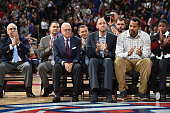 Former Detroit Pistons coach Larry Brown and former Detroit Pistons players Tayshaun Prince and Rasheed Wallace attend a ceremony honoring former...