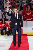 Former Detroit Red Wing forward and recent Hockey Hall of Fame inductee Sergei Fedorov waves to the crowd prior to an NHL game against the Washington...