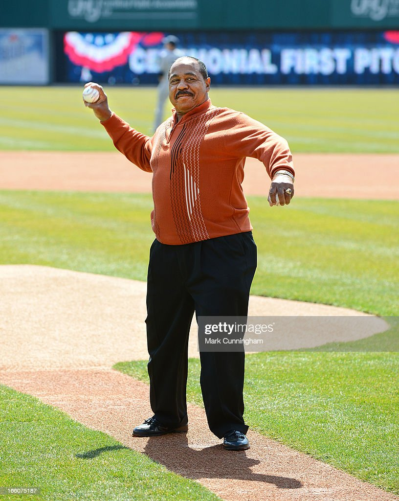 Former Detroit Tigers outfielder Willie Horton throws out the ceremonial first pitch prior to the Opening Day game against the New York Yankees at Comerica Park on April 5, 2013 in Detroit, Michigan. The Tigers defeated the Yankees 8-3.