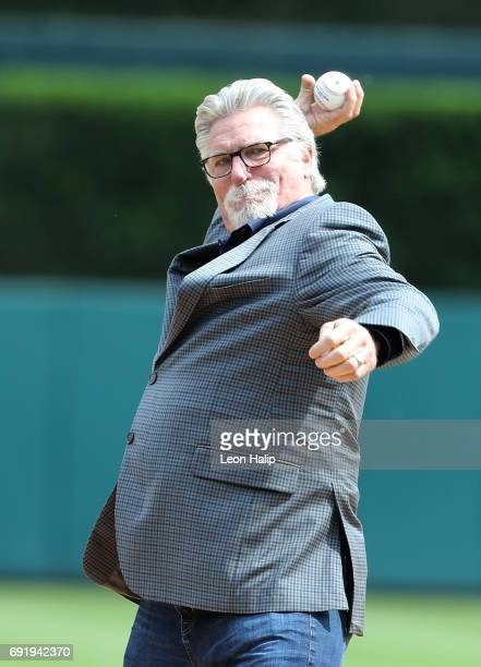 Former Detroit Tigers pitcher Jack Morris throws out the first pitch prior to the start of the game between the Chicago White Sox and the Detroit...