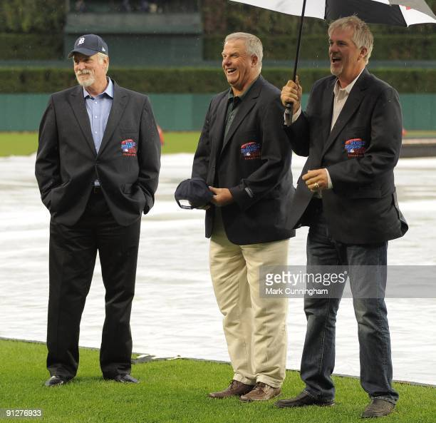 Former Detroit Tigers pitchers Jack Morris Milt Wilcox and Dave Rozema look on and smile during the ceremony to honor the 25th anniversary of the...