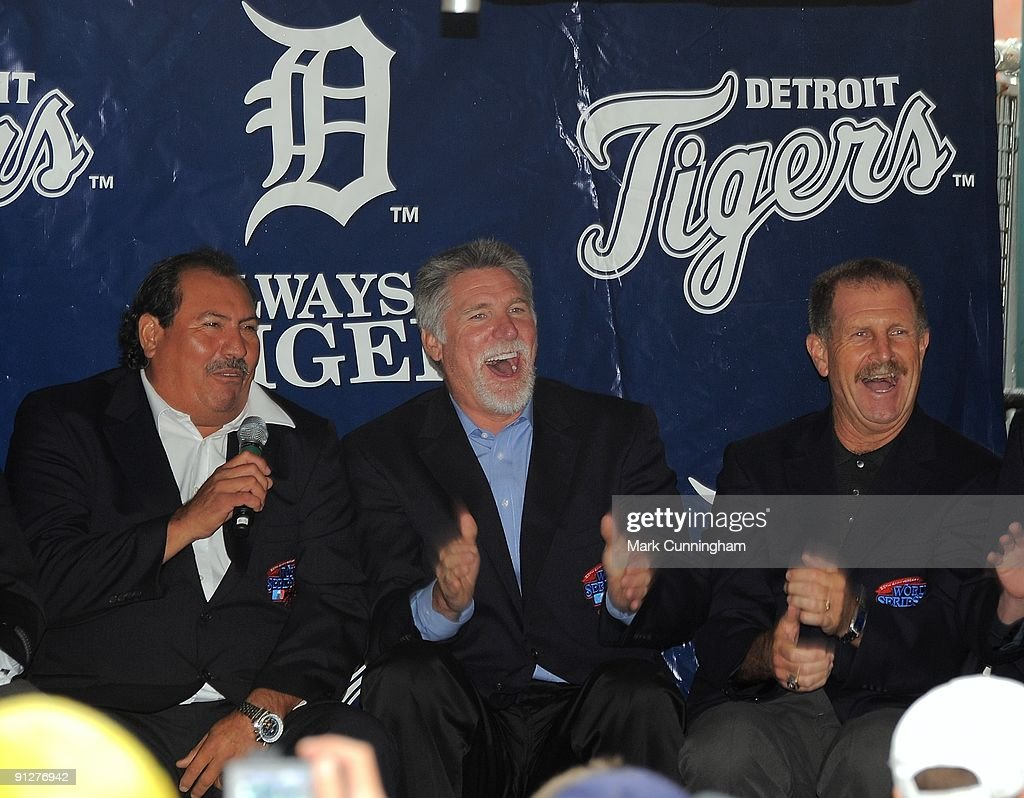Former Detroit Tigers pitchers (L to R) Juan Berenguer, Jack Morris, and Dan Petry laugh during a question and answer session to honor the 25th anniversary of the 1984 World Champion Detroit Tigers before the game against the Minnesota Twins at Comerica Park on September 28, 2009 in Detroit, Michigan. The game was postponed due to rain.