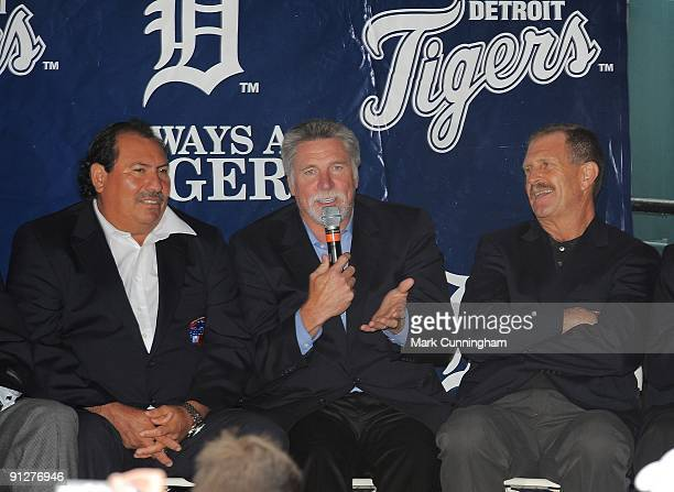Former Detroit Tigers pitchers Juan Berenguer Jack Morris and Dan Petry answer questions during a question and answer session to honor the 25th...