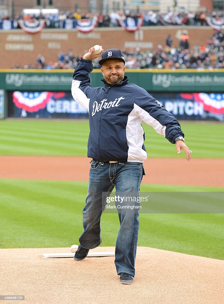 Former Detroit Tigers second baseman Placido Polanco throws out the ceremonial first pitch prior to Game Three of the American League Division Series...