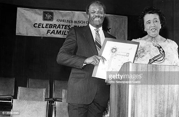 Former District of Columbia mayor Marion Barry and educator and Civil Rights activist Dorothy Height receiving an award September 11 1987