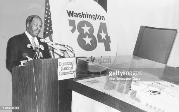 Former District of Columbia mayor Marion Barry speaking at a podium during the 1984 Democratic National Committee conference Washington DC 1984
