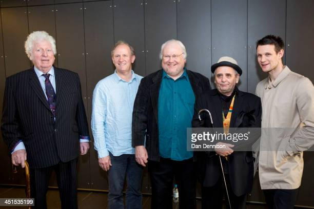 Former 'Doctors' form the classis series 'Doctor Who' Tom Baker Peter Davison Colin Baker Sylvester McCoy and current Doctor Matt Smith pose at the...