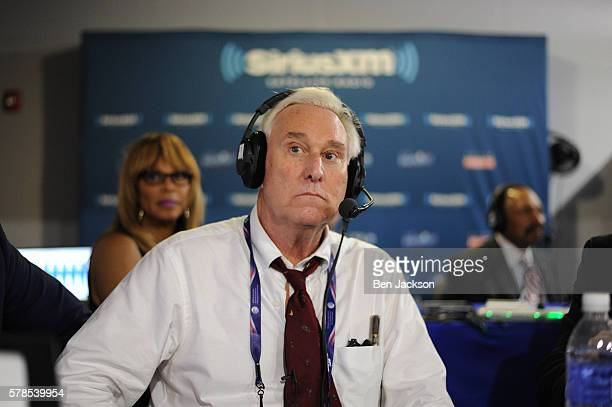 Former Donald Trump Advisor Roger Stone listens to host Jonathan Alter talk during an episode of Alter Family Politics on SiriusXM at Quicken Loans...