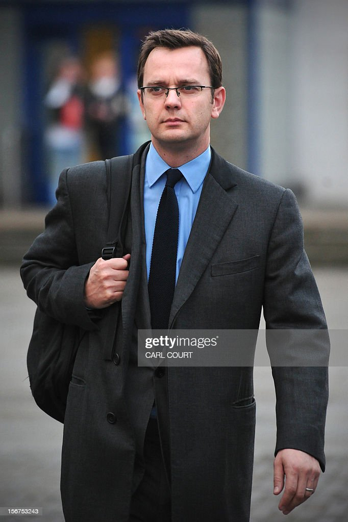 Former Downing Street communications director and News of the World Editor, Andy Coulson, leaves a police station in London on November 20, 2012, where he attended to face charges relating to alleged payments to police and public officials. British prosecutors charged ex-News International chief Rebekah Brooks and the prime minister's former spokesman Andy Coulson with paying bribes for information on the royal family and the military.
