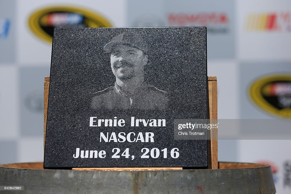 Former driver Ernie Irvan is inducted into the Sonoma Raceway Wall Of Fame after practice for the NASCAR Sprint Cup Series Toyota/Save Mart 350 at Sonoma Raceway on June 24, 2016 in Sonoma, California.