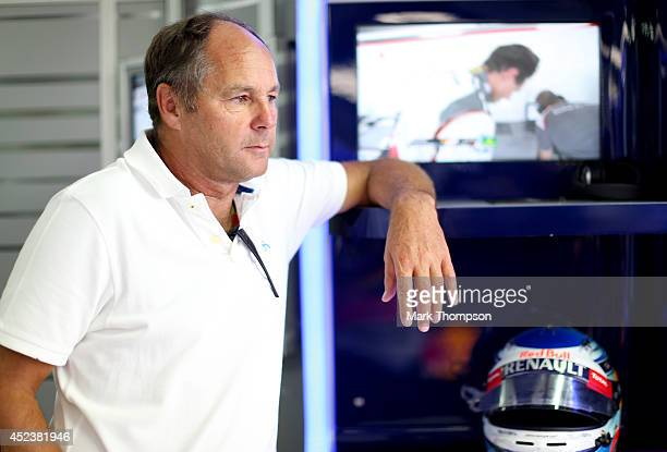 Former driver Gerhard Berger looks on in the Infiniti Red Bull Racing garage during qualifying ahead of the German Grand Prix at Hockenheimring on...