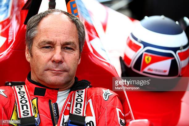 Former driver Gerhard Berger sits in a car on track after qualifying for the Formula One Grand Prix of Austria at Red Bull Ring on June 20 2015 in...