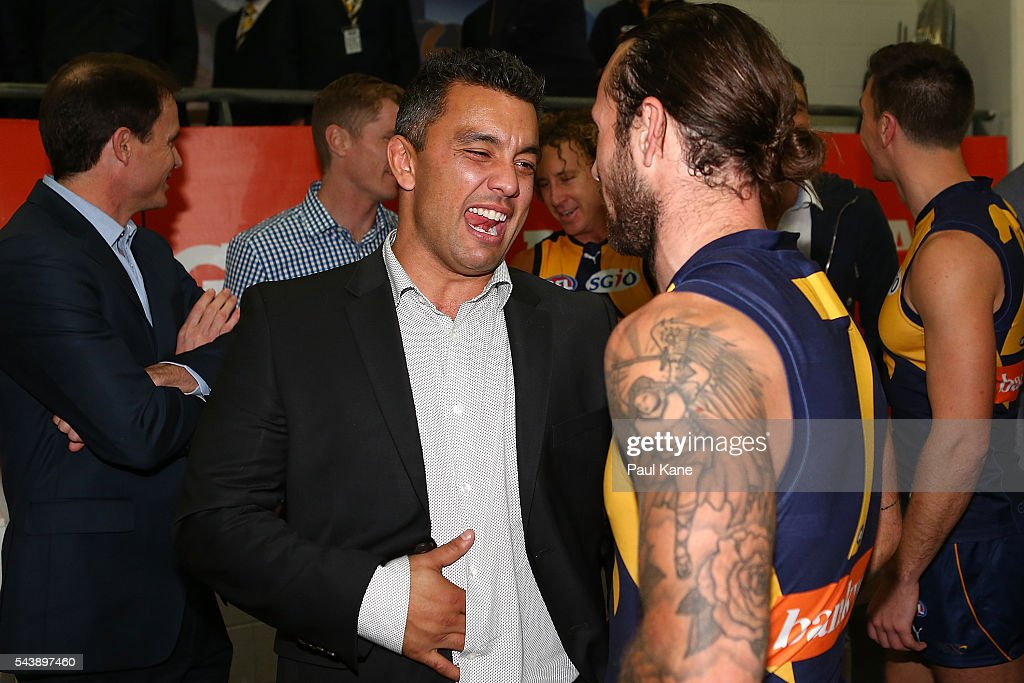 Former Eagle <a gi-track='captionPersonalityLinkClicked' href=/galleries/search?phrase=Daniel+Kerr&family=editorial&specificpeople=215348 ng-click='$event.stopPropagation()'>Daniel Kerr</a> talks with Chris Masten of the Eagles after the round 15 AFL match between the West Coast Eagles and the Essendon Bombers at Domain Stadium on June 30, 2016 in Perth, Australia.