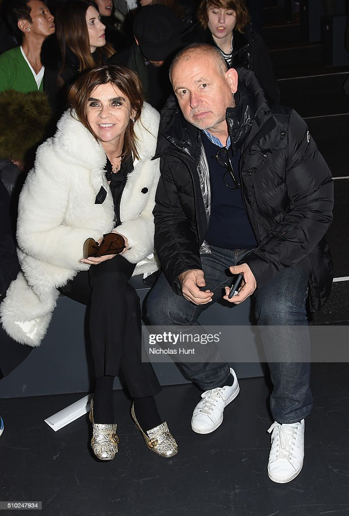 Former editor-in-chief of Vogue Paris <a gi-track='captionPersonalityLinkClicked' href=/galleries/search?phrase=Carine+Roitfeld&family=editorial&specificpeople=240177 ng-click='$event.stopPropagation()'>Carine Roitfeld</a> (L) art director <a gi-track='captionPersonalityLinkClicked' href=/galleries/search?phrase=Fabien+Baron&family=editorial&specificpeople=2567341 ng-click='$event.stopPropagation()'>Fabien Baron</a> attend the Hood By Air Fall 2016 fashion show during New York Fashion Week: The Shows at The Arc, Skylight at Moynihan Station on February 14, 2016 in New York City.