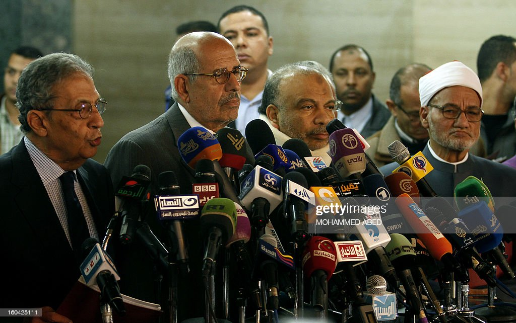 Former Egyptian presidential candidate Amr Moussa (L), Egyptian opposition leader and Nobel Prize Laureate Mohammed el-Baradei (2L), head of the Islamist Freedom and Justice Party (FJP) Saad al-Katatni (2R), and a representative of the Azhar scholars Nasr Wassel (R) attend a press conference in Cairo on January 31, 2013. Rival factions in Egypt condemned the violence which has killed dozens in a week of unrest and pledged support for a national dialogue to resolve the political crisis gripping the country.