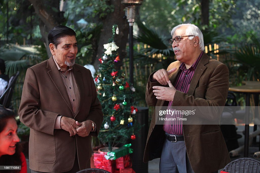 Former Election commisioner SY Qureshi with Congress leader Jagdish Tytler during Christmas party thrown by communication guru Dilip and Devi Cherian at Lodi Garden on December 22, 2012 in New Delhi, India.