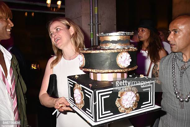 Former Elite model and CupSiCake manager Simone Muterthies attends the Dexter Dex Tao Birthday Party at the Xu Sushis bar on July 12 2016 in Paris...