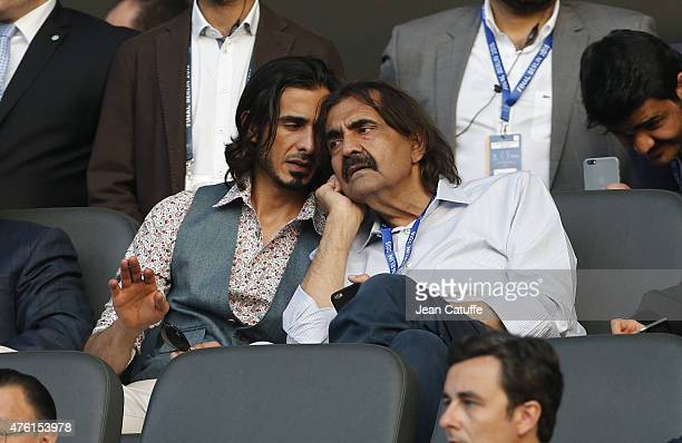 Former Emir of Qatar Sheikh Hamad ben Khalifa alThani attends the UEFA Champions League Final between Juventus Turin and FC Barcelona at...