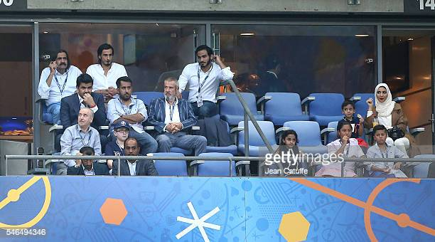 Former Emir of Qatar Sheikh Hamad Bin Khalifa Al Thani attends the UEFA Euro 2016 final between Portugal and France at Stade de France on July 10...