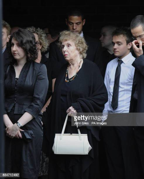 Former Emmerdale actress Sheila Merciercentre who played the original Annie Sugden in Emmerdale arrive for the funeral of Emmerdale actor Clive...
