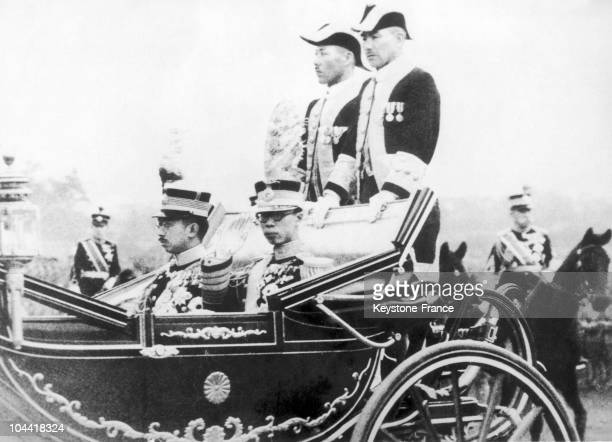 YI former emperor of China then Emperor of Mandchoukuo under the name of KANG TEH on an official visit in Tokyo on May 2 1935 He is with HIROHITO...