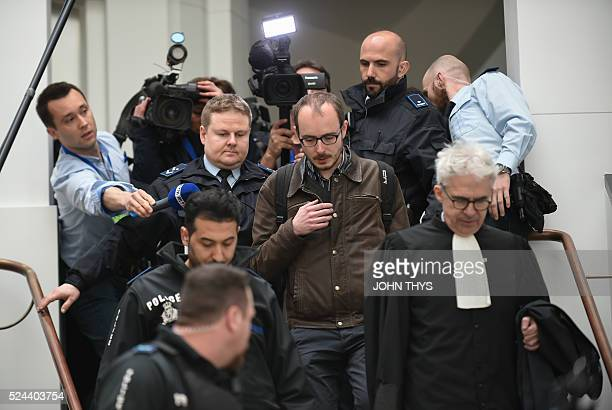 Former employee at services firm PwC Antoine Deltour and his lawyer William Bourdon leave the courthouse in Luxembourg on April 26 during a trial...