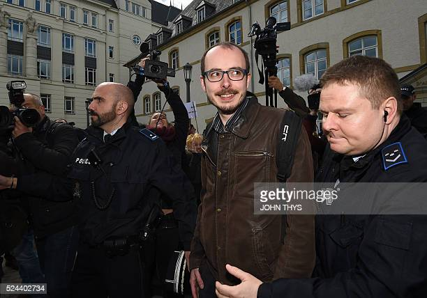 Former employee at services firm PwC Antoine Deltour leaves the courthouse in Luxembourg on April 26 before a trial over the socalled LuxLeaks...