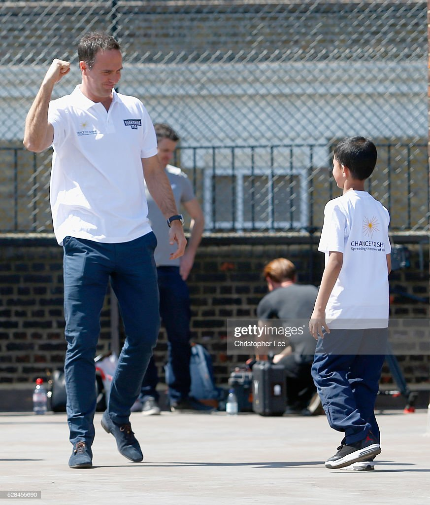 Former England and Lancashire Cricketer <a gi-track='captionPersonalityLinkClicked' href=/galleries/search?phrase=Michael+Vaughan&family=editorial&specificpeople=179446 ng-click='$event.stopPropagation()'>Michael Vaughan</a> celebrates taking a wicket as he joins pupils of the Hague School for a game of cricket during the Launch of the Yorkshire Tea Cricket Commentator Search at The Hague Primary School on May 5, 2016 in London, England.