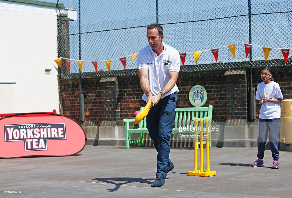 Former England and Lancashire Cricketer <a gi-track='captionPersonalityLinkClicked' href=/galleries/search?phrase=Michael+Vaughan&family=editorial&specificpeople=179446 ng-click='$event.stopPropagation()'>Michael Vaughan</a> in action as he joins pupils of the Hague School for a game of cricket during the Launch of the Yorkshire Tea Cricket Commentator Search at The Hague Primary School on May 5, 2016 in London, England.