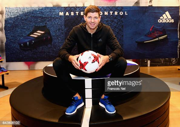 Former England and Liverpool FC captain Steven Gerrard meets fans at the adidas store in Mall of the Emirates on February 19 2017 in Dubai United...