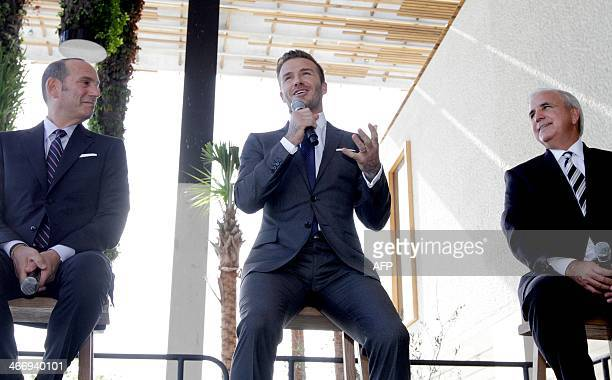 Former England and Manchester United star David Beckham along with Major League Soccer Commissioner Don Garber and MiamiDade County Mayor Carlos A...