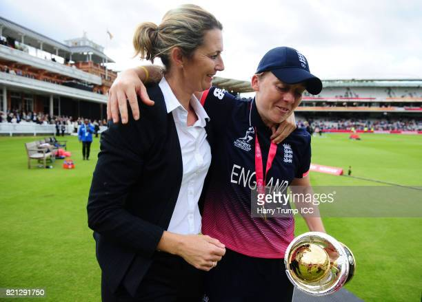 Former England captain Charlotte Edwards and current England Captain Heather Knight embrace during the ICC Women's World Cup 2017 Final between...