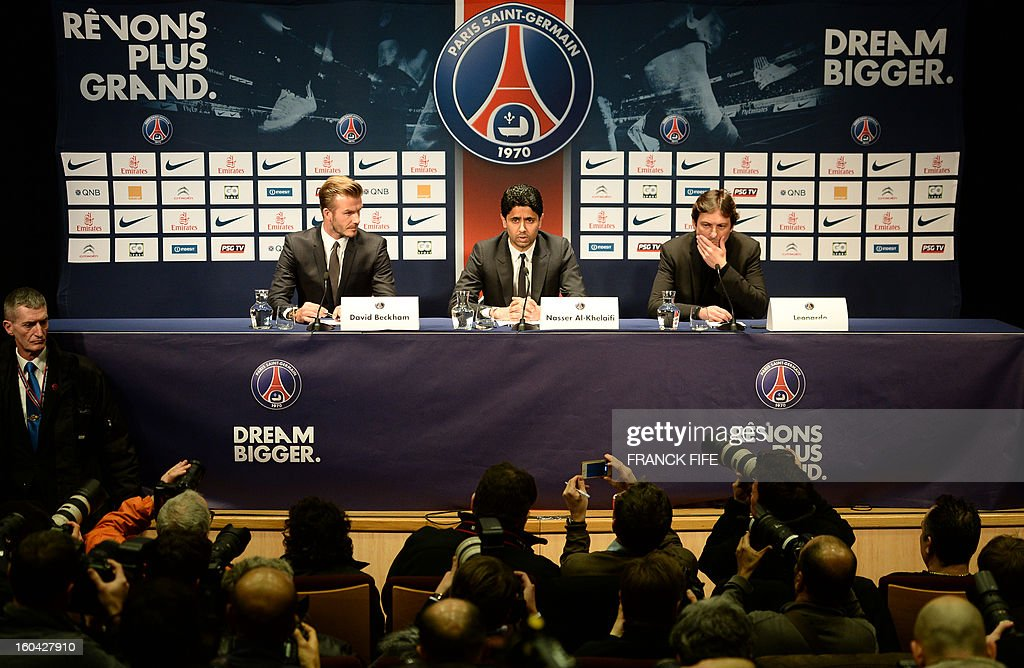 Former England captain David Beckham (L) gives a press conference flanked by PSG Qatari president Nasser Al-Khelaifi (C) and PSG sports director Leonardo at the Parc des Princes stadium in Paris, on January 31, 2013, to announce that he joined the French football club Paris Saint-Germain (PSG).