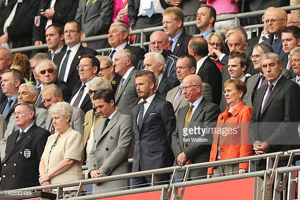 Former England Captain David Beckham Sir Bobby Charlton and and former England goalkeeper Peter Shilton attend the international friendly match...