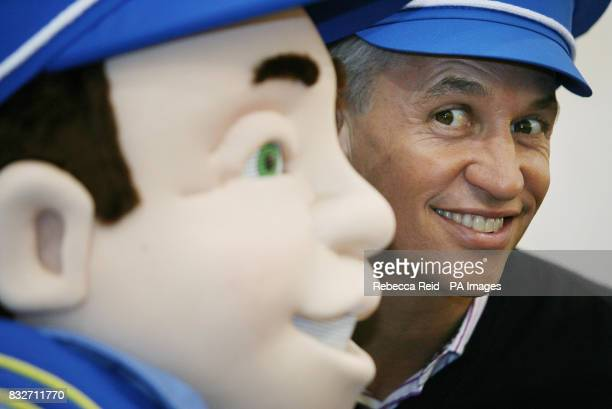 Former England captain Gary Lineker appears with a lifesize version of cartoon character Underground Ernie on the opening day of the toy fair at...